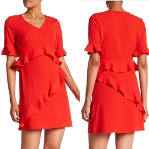NWT Nicole Miller Red Ruffle Dress